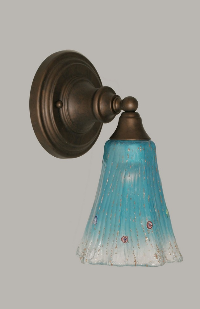 Toltec Lighting-40-BRZ-725-One Light Bronze Wall Sconce  Bronze Finish with Teal Crystal Glass