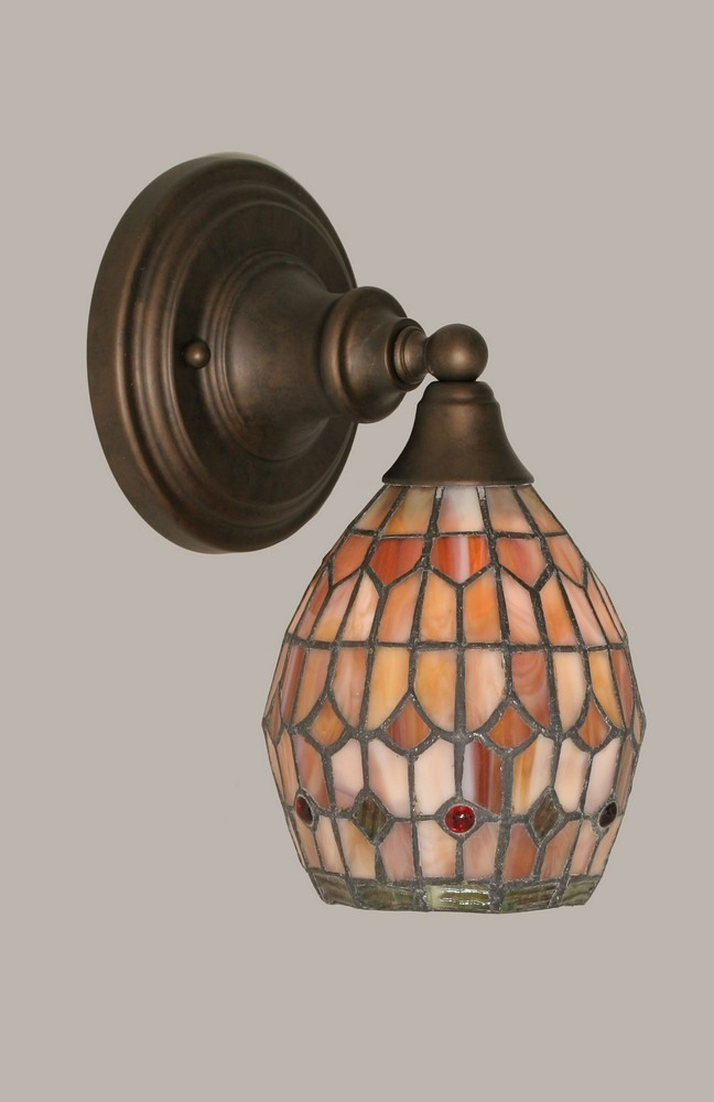 Toltec Lighting-40-BRZ-9881-One Light Bronze Wall Sconce  Bronze Finish with Rosetta Mini Tiffany Glass