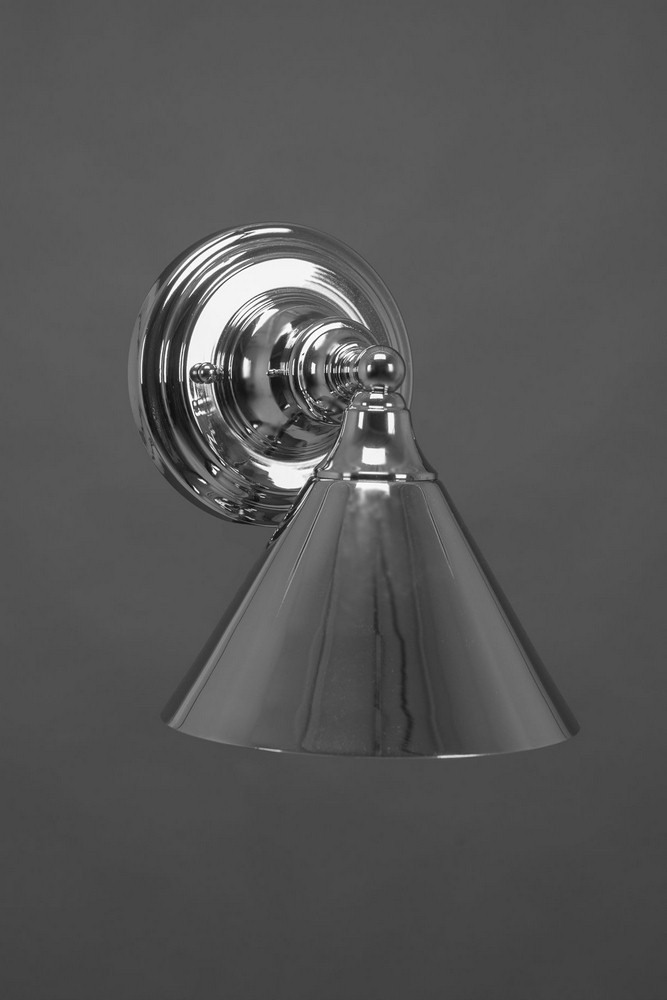 Toltec Lighting-40-CH-421-One Light Chrome Wall Sconce  Chrome Finish with Bronze Cone Metal Shade
