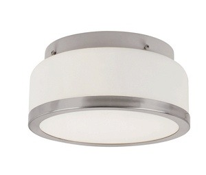 Trans Globe Lighting-10092 BN-Two Light Round Flush Mount  Brushed Nickel Finish with White Frosted Glass