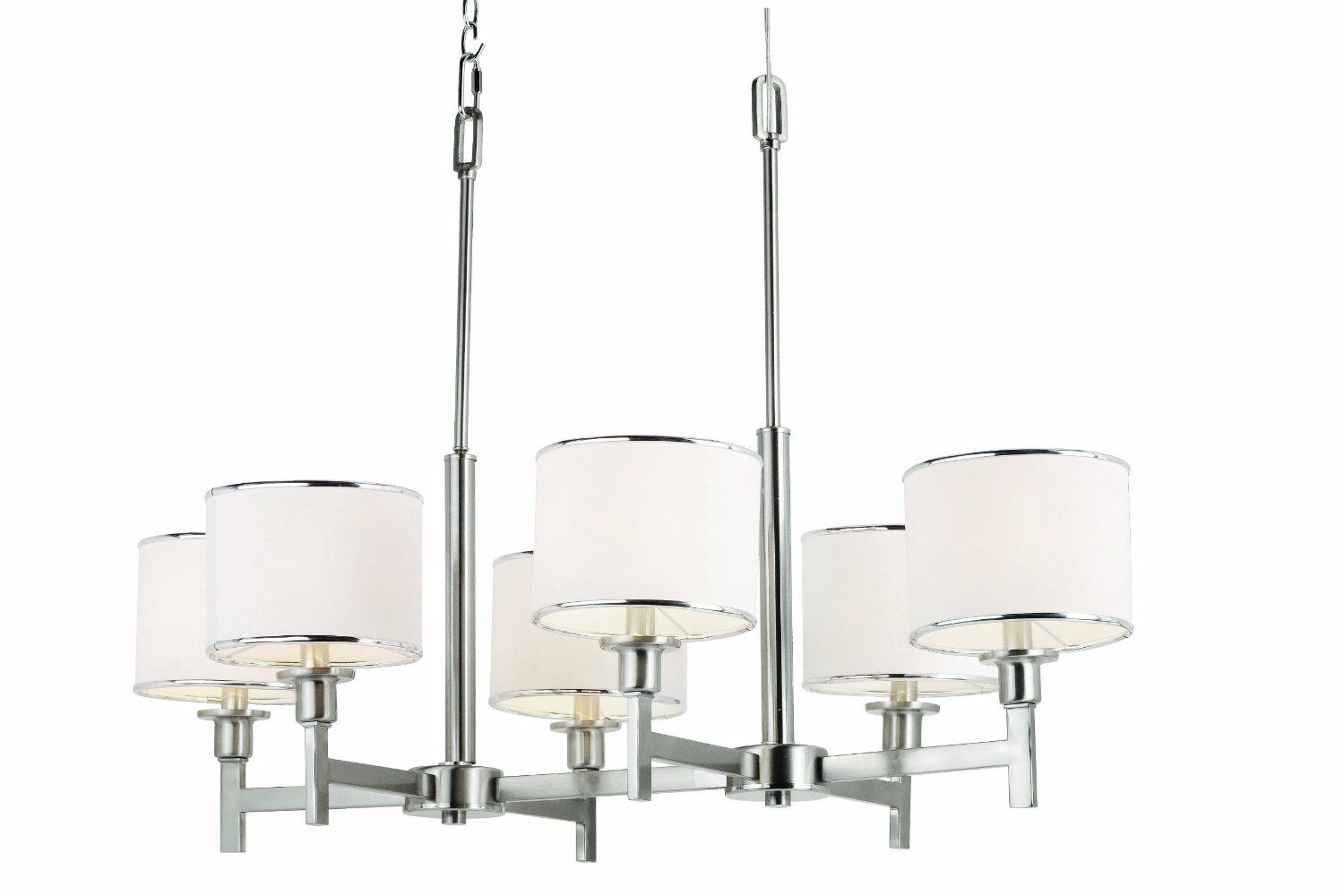 Trans Globe Lighting-1056 BN-Cadence - Six Light Chandelier  Brushed Nickel Finish with White Linen Shade