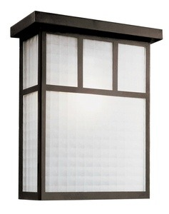 Trans Globe Lighting-40141 BK-Garden Box - One Light Outdoor Wall Mount  Black Finish with White Frosted Checkered Glass
