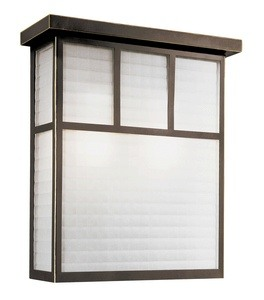 Trans Globe Lighting-40142 ROB-Garden Box - Two Light Outdoor Wall Mount  Rubbed Oil Bronze Finish with White Frosted Checkered Glass