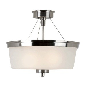 Trans Globe Lighting-70335-1 BN-Urban Swag - Two Light Semi-Flush Mount  Brushed Nickel Finish with White Frosted Glass