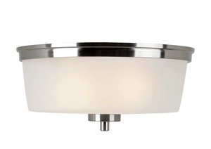 Trans Globe Lighting-70335 BN-Urban Swag - Two Light Flush Mount  Brushed Nickel Finish with White Frosted Glass
