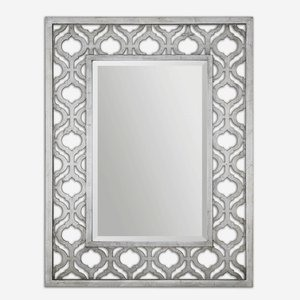 Uttermost-13863-Sorbolo - 40.38 inch Mirror  Antiqued Silver Leaf/Black Finish