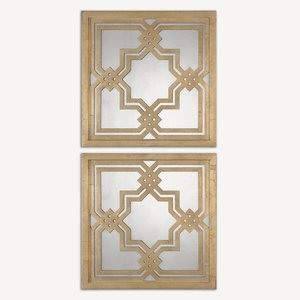 Uttermost-13865-Piazzale Squares - 19.75 inch Square Mirror (Set of 2)  Antiqued Gold Leaf/Antique Mirror Finish