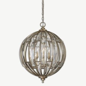 Uttermost-22031-Vicentina Pendant 6 Light  Burnished Silver Champagne Leaf Finish with Beveled Crystal