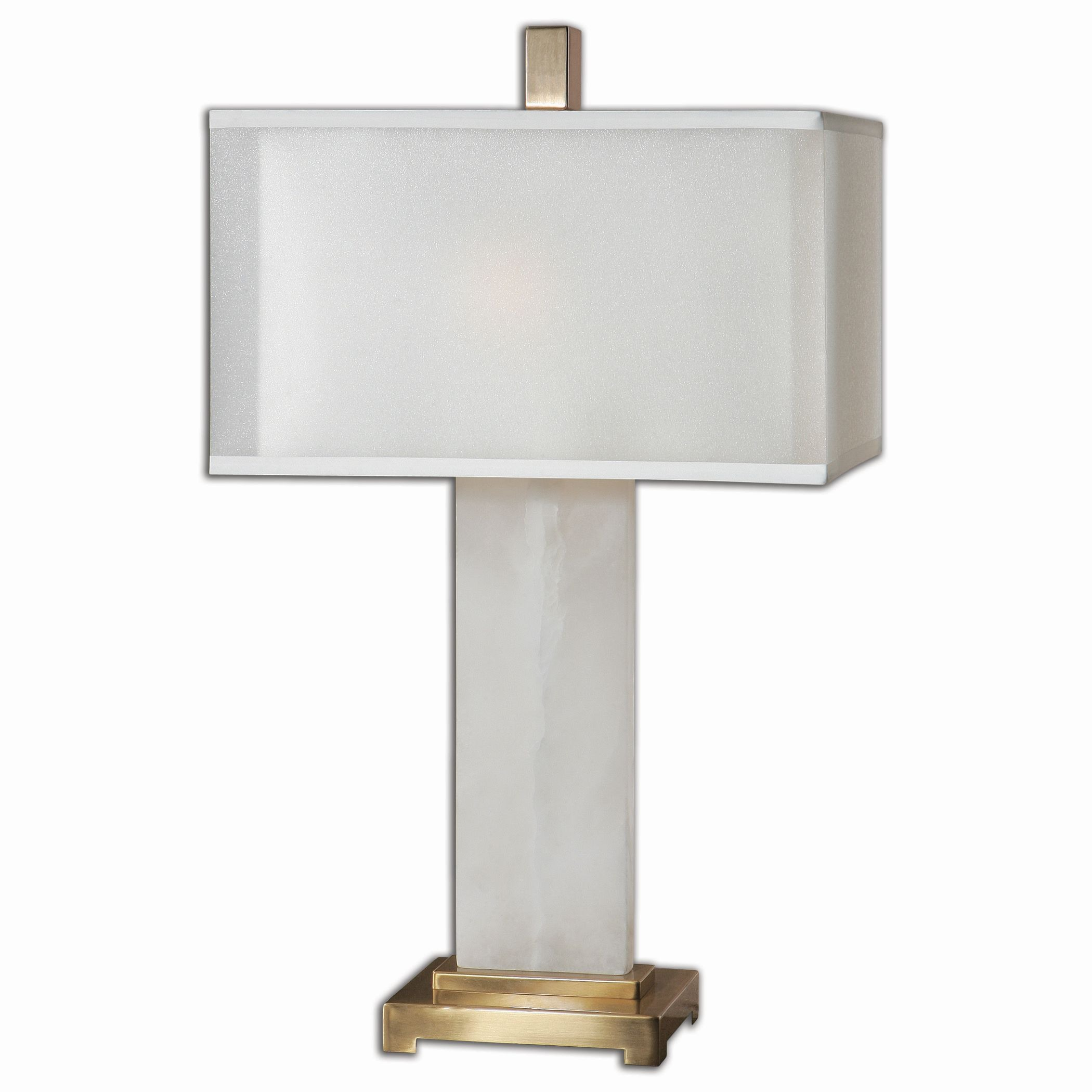 Uttermost-26136-1-Athanas - 2 Light Table Lamp  White Alabaster/Plated Coffee Bronze Finish with White Linen Sheer Shade