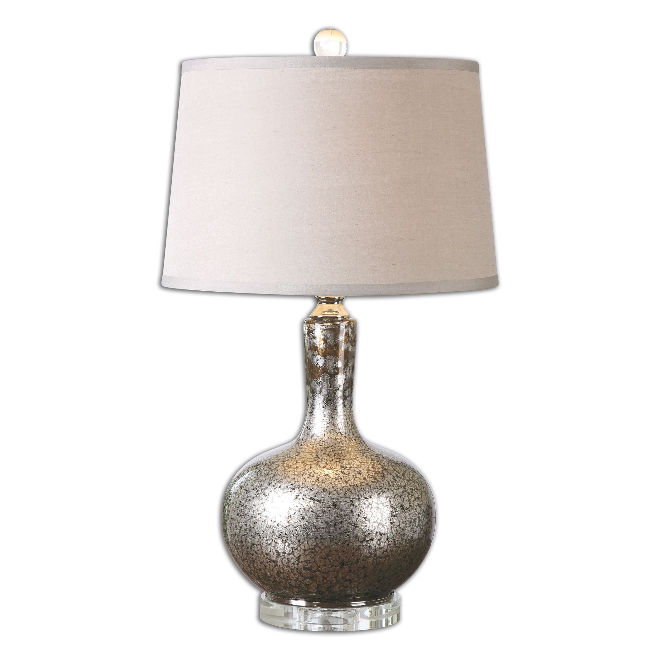 Uttermost-26157-Aemilius - 1 Light Table Lamp  Dark Bronze/Polished Nickel Plated/Crystal Finish with Mottled Mercury Silver Glass with Silken Beige Linen Fabric Shade