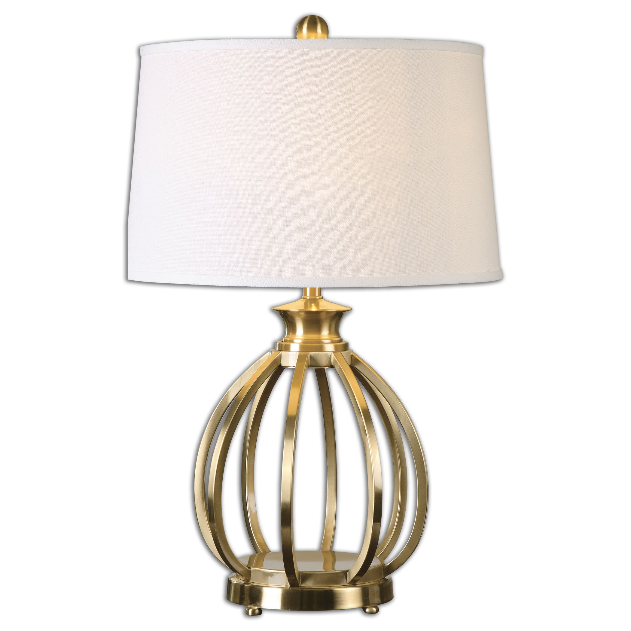 Uttermost-26167-Decimus - 1 Light Table Lamp  Plated Brushed Brass Finish with Crisp White Linen Fabric Shade