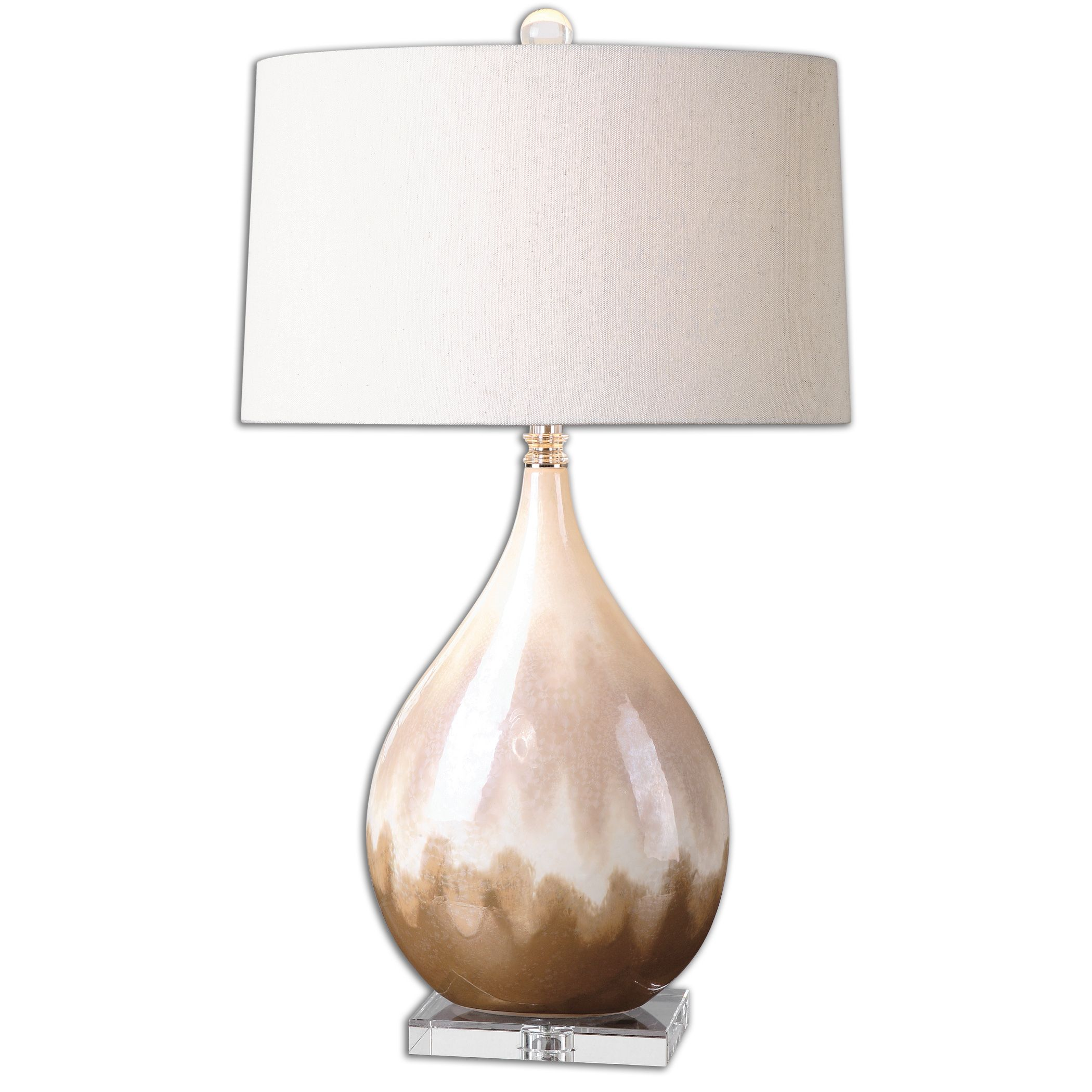 Uttermost-26171-1-Flavian - 1 Light Table Lamp  Metallic Rust Beige Glaze/Ivory/Crystal Finish with Light Beige Linen Fabric Shade