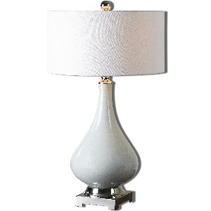 Uttermost-26768-1-Helton - 1 Light Table Lamp  Aged Ivory/Polished Nickel Finish with Ivory Linen Fabric Shade