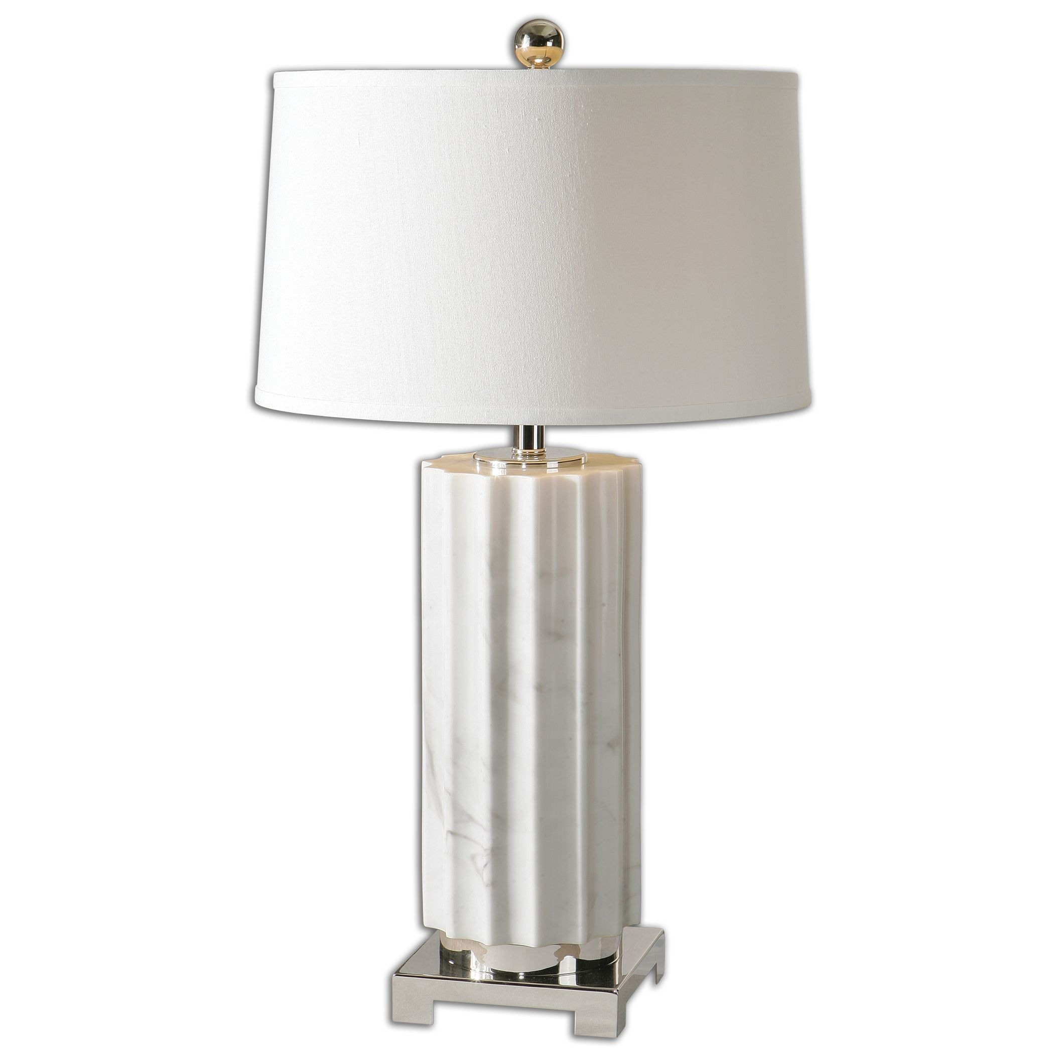 Uttermost-27911-1-Castorano - 1 Light Table Lamp  Polished Nickel Finish with White Linen Fabric Shade