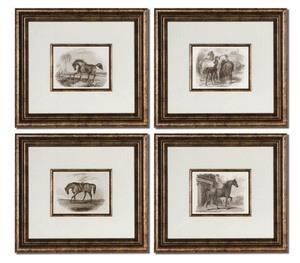 Uttermost 33590 Horses 1863 Horse Wall Art Set Of 4 Bronze Leafblack Finish image