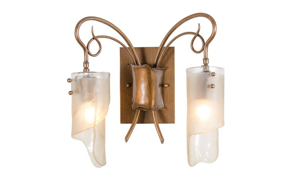 Varaluz Lighting-126B02HO-Soho - Two Light Bath Vanity  Hammered Ore Finish with Frosted Ice Glass