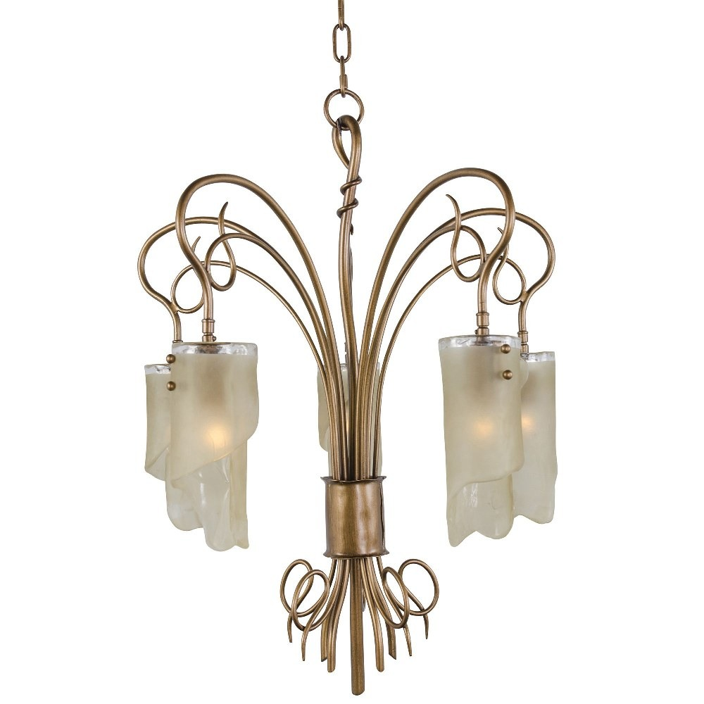 Varaluz Lighting-126C05HO-Soho - Five Light Chandelier  Hammered Ore Finish with Brown Tinted Ice Glass - Lamping 75W A19 Medium Base