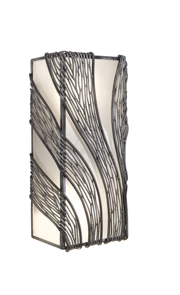 Varaluz Lighting-240W02SL-Flow - Two Light Vertical Wall Sconce  Steel Finish with Recycled Frosted Glass