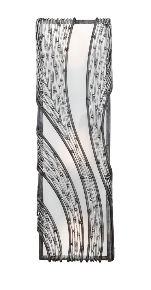 Varaluz Lighting-240W03SL-Flow - Three Light Vertical Wall Sconce  Steel Finish with Recycled Frosted Glass