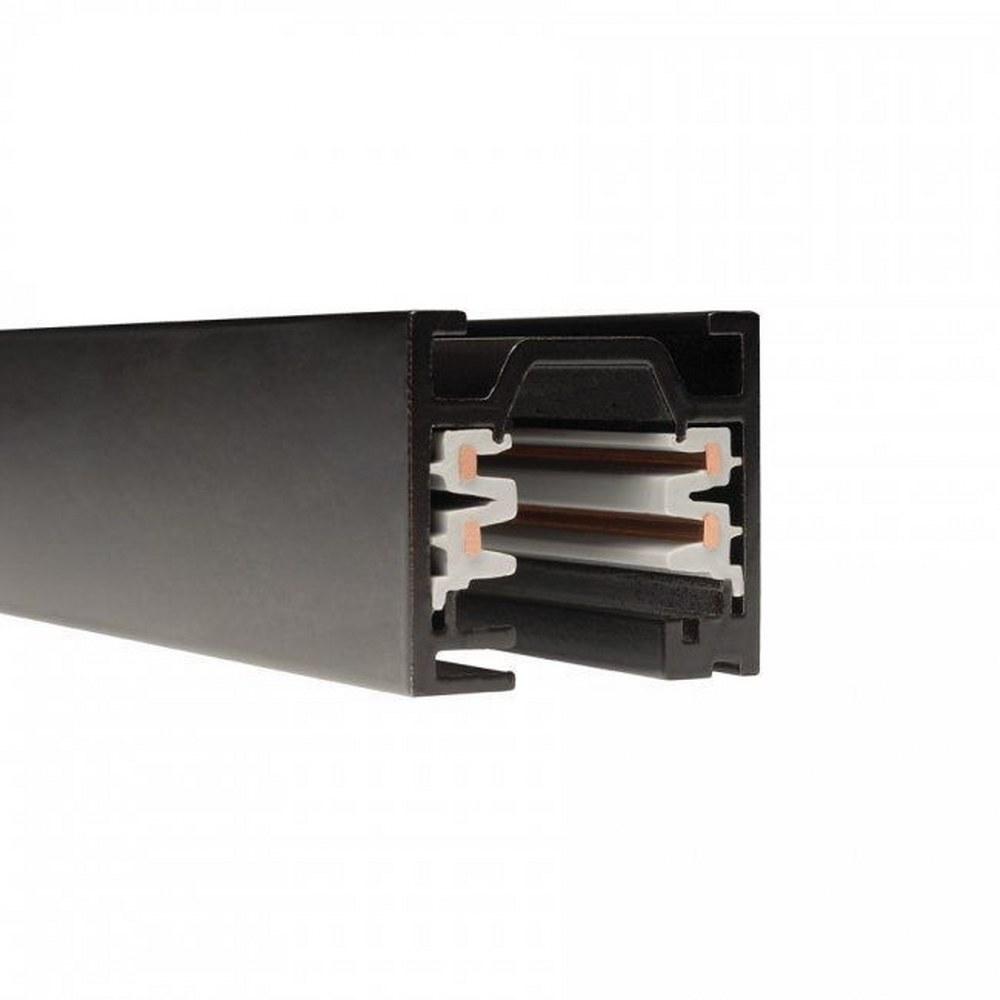 WAC Lighting-WT12-RT-BK-Accessory - 144 Inch 120V Flangled 2-Circuit Recessed Track  Black Finish