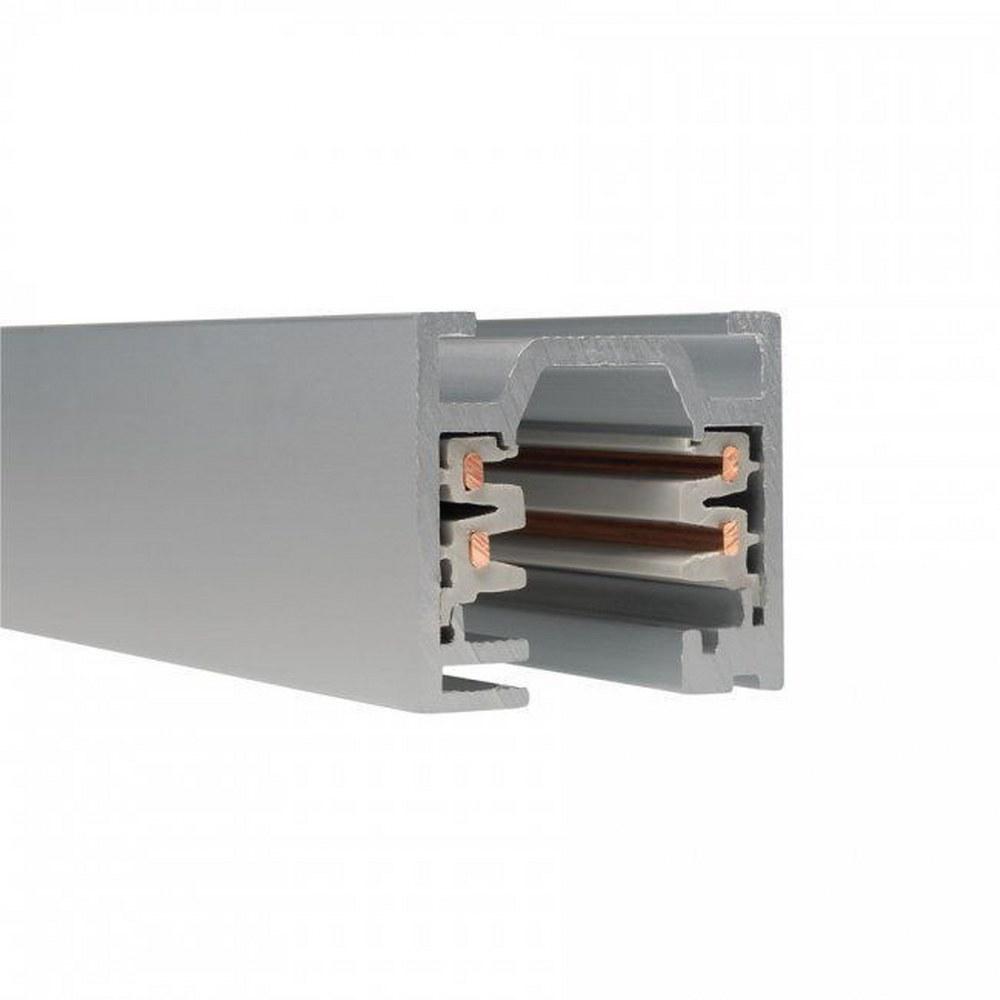 WAC Lighting-WT12-RT-PT-Accessory - 144 Inch 120V Flangled 2-Circuit Recessed Track  Platinum Finish