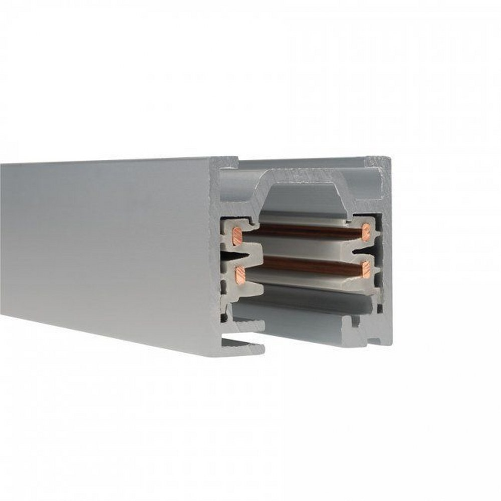 WAC Lighting-WT4-RT-PT-Accessory - 48 Inch 120V Flangled 2-Circuit Recessed Track  Platinum Finish