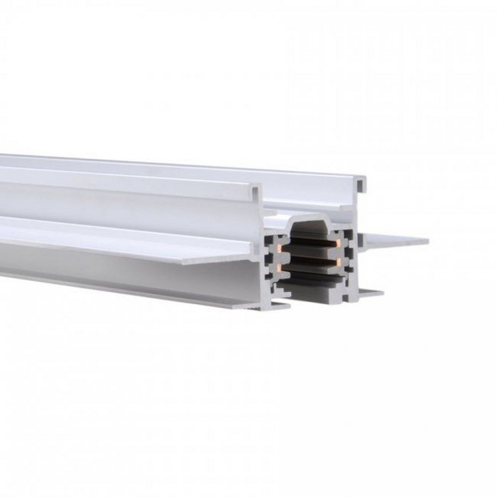 WAC Lighting-WT4-RTL-WT-Accessory - 48 Inch 120V Flangless 2-Circuit Recessed Track  White Finish