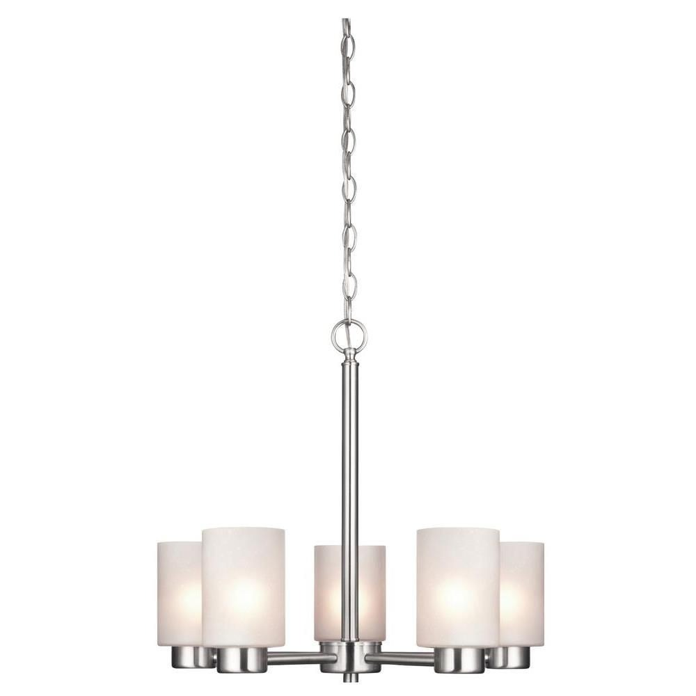 Westinghouse Lighting-6227400-Westinghouse Lighting Sylvestre Five-Light Indoor Chandelier Brushed Nickel Finish with Frosted Seeded Glass  Brushed Nickel Finish with Frosted Seeded Glass