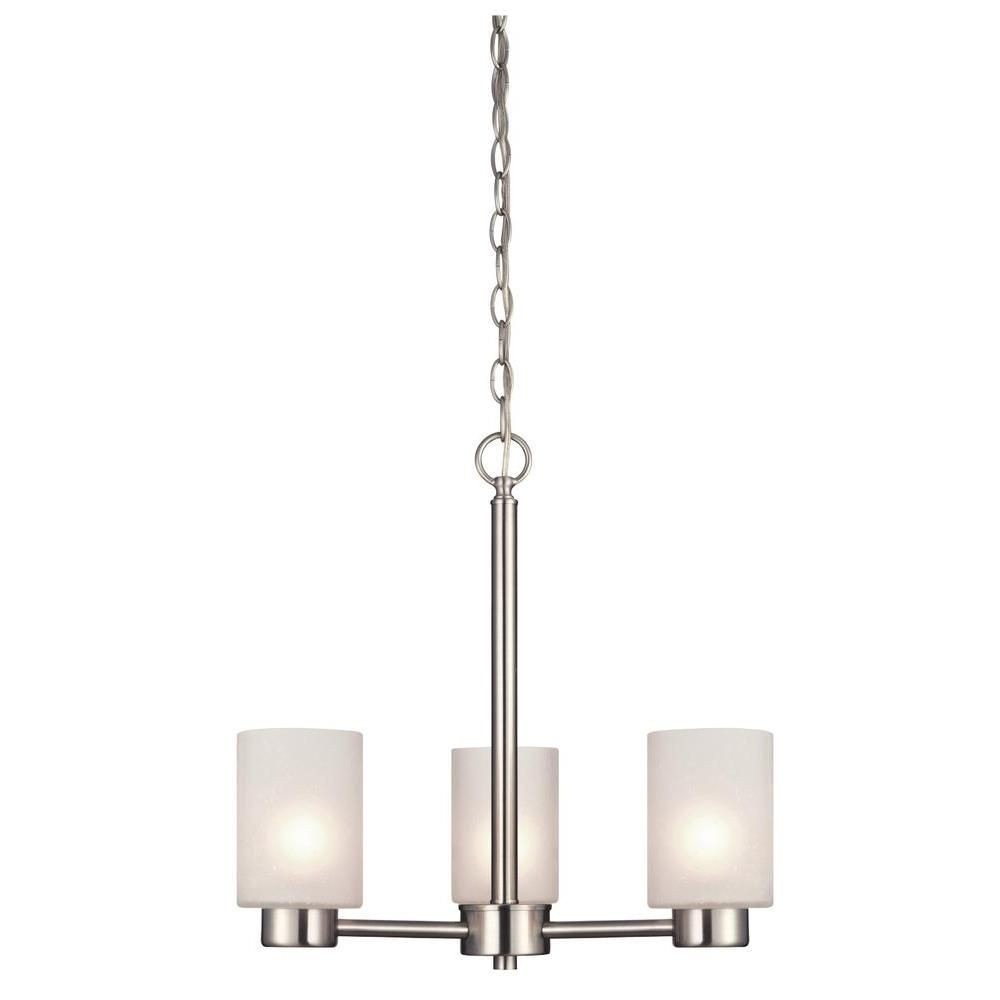Westinghouse Lighting-6227500-Westinghouse Lighting Sylvestre Three-Light Indoor Chandelier Brushed Nickel Finish with Frosted Seeded Glass  Brushed Nickel Finish with Frosted Seeded Glass