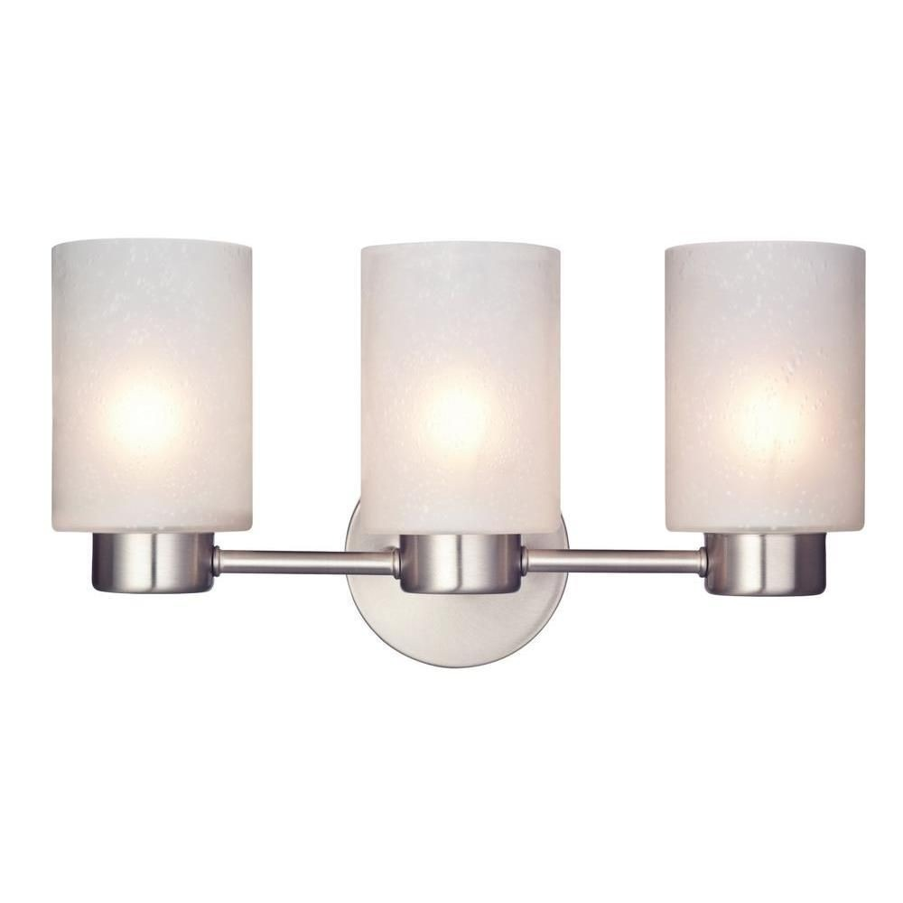Westinghouse Lighting-6227900-Sylvestre - Three Light Wall Sconce  Brushed Nickel Finish with Frosted Seeded Glass