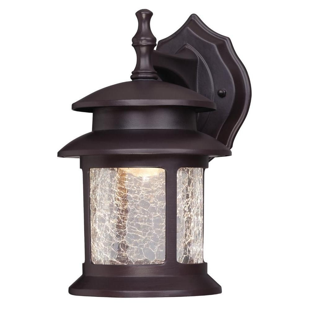 Westinghouse Lighting-6400300-9.75 Inch 9W 3 LED Outdoor Wall Lantern  Oil Rubbed Bronze Finish with Crackle Glass