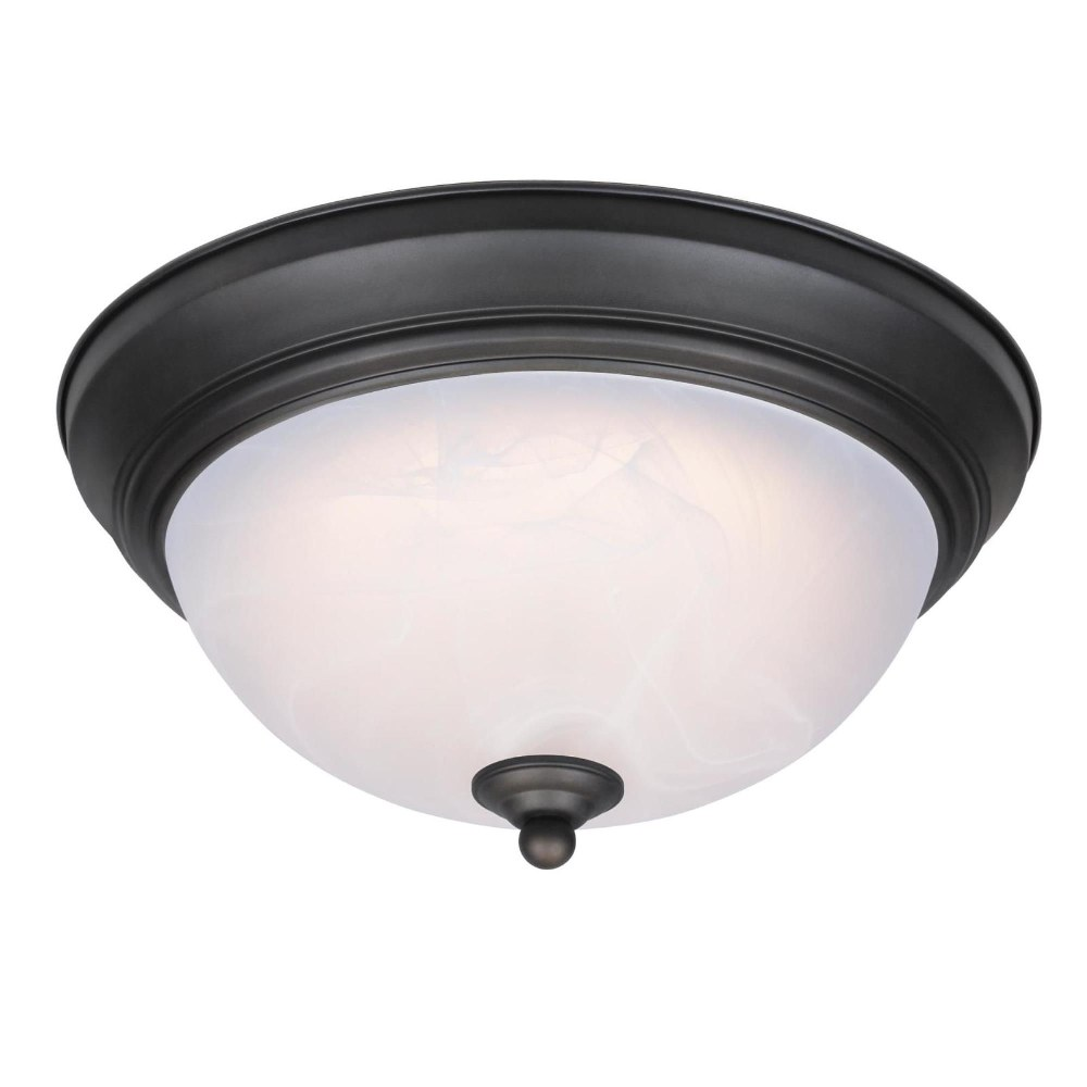 Westinghouse Lighting-6400600-11 Inch 14.5W 1 LED Flush Mount  Oil Rubbed Bronze Finish with White Alabaster Glass