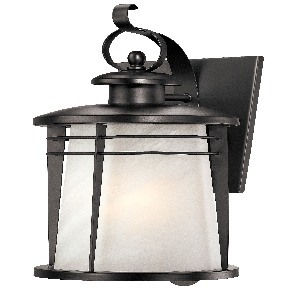 Westinghouse Lighting-6674200-Senecaville - One Light Wall Mount  Weathered Bronze Finish with White Alabaster Glass