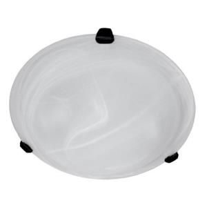 Lily Twelve-Inch Two-Light Flush Mount, Black with Alabaster Glass