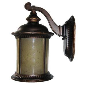 Brayden Seven-Inch One-Light Outdoor Light, Oil Rubbed Bronze with Autumn Teak Glass