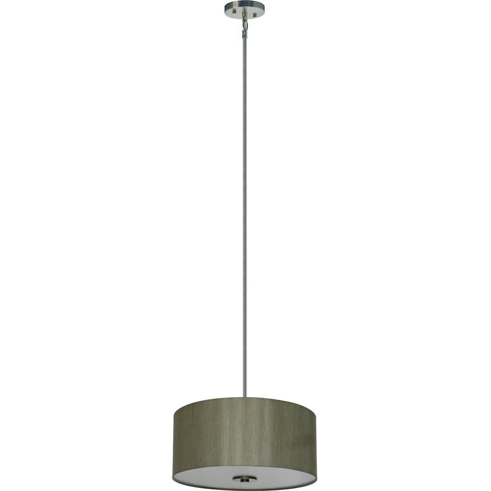 Whitfield Lighting-SH1607-TCSS-Modena Sixteen-Inch Three-Light Drum Shade Satin Steel with Toffee Crunch Fabric Shade  Satin Steel Finish with Toffee Crunch Shade