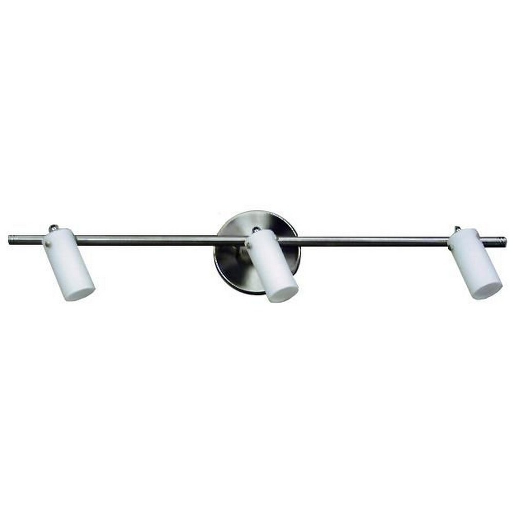 Whitfield Lighting-TP218-3SS-Nina - Three Light Track  Satin Steel Finish with White Glass