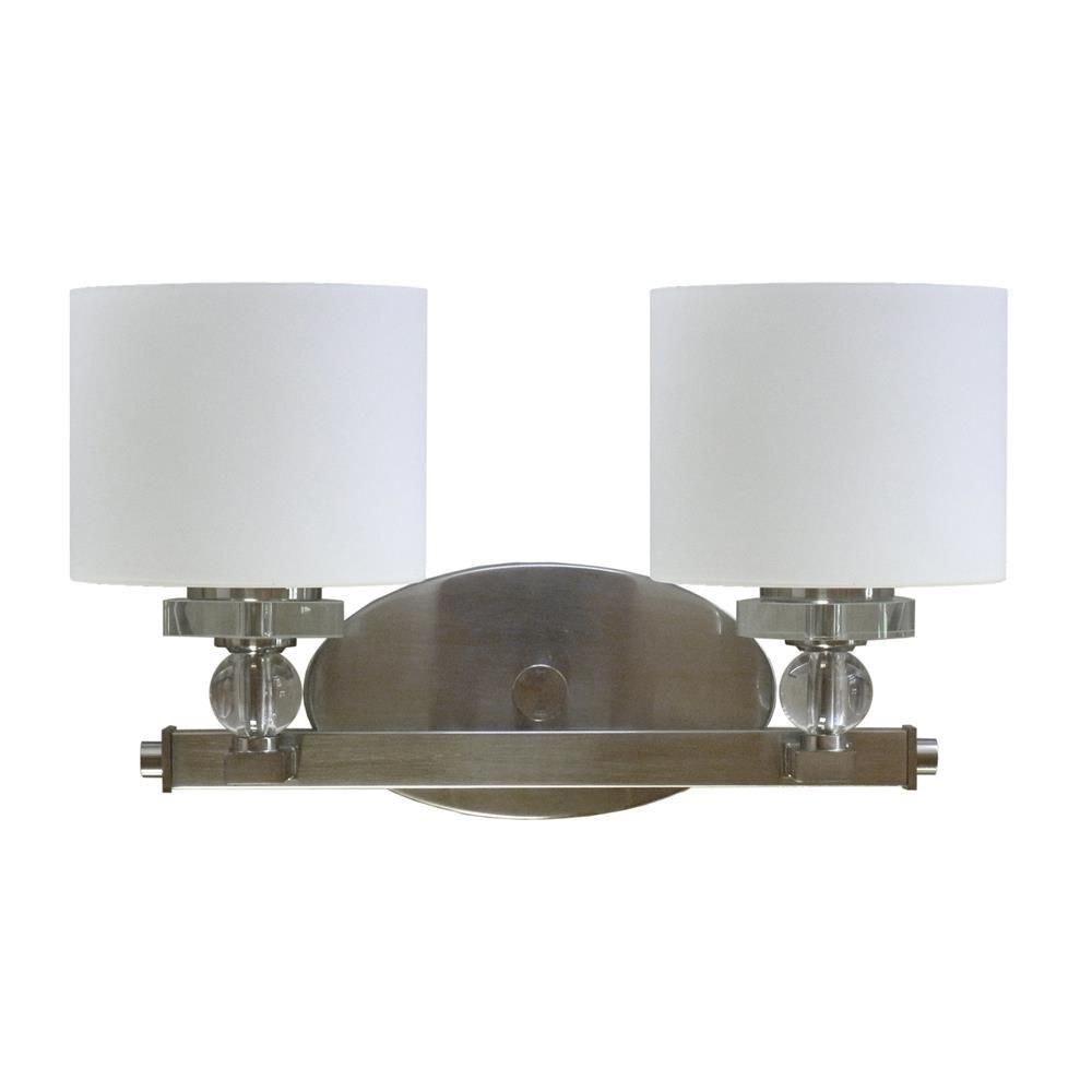 Whitfield Lighting-VL2009-2SS-Orca - Two Light Bath Bar  Satin Steel Finish with Dove White Glass