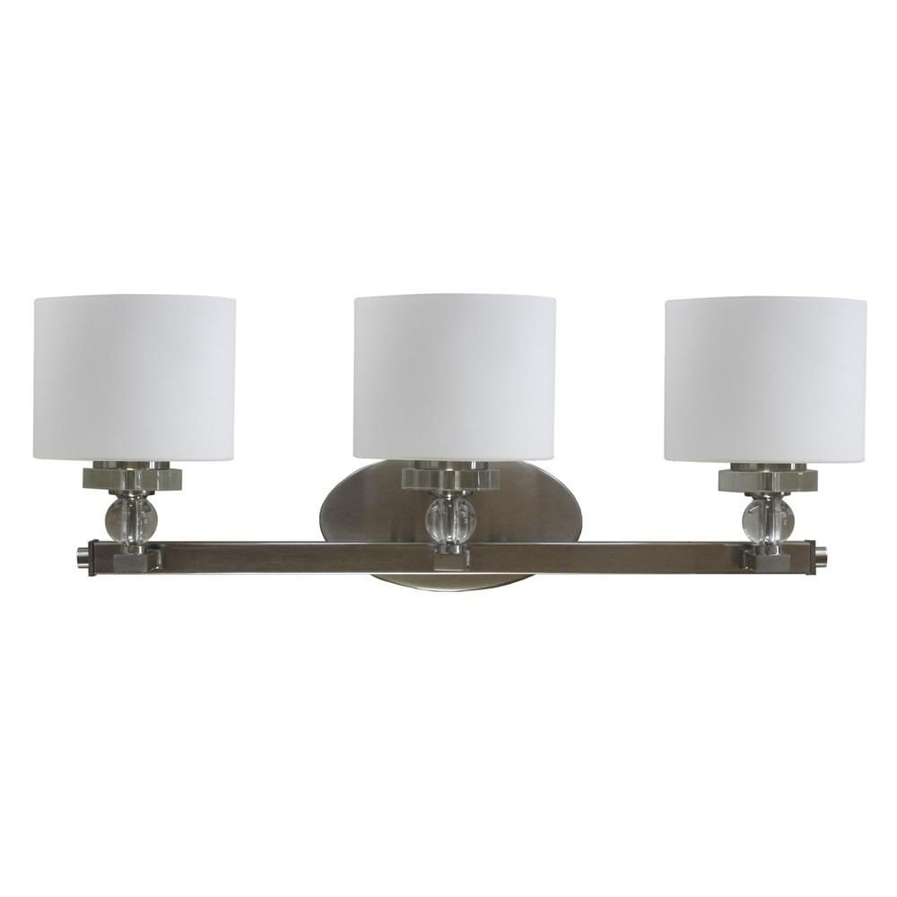 Whitfield Lighting-VL2009-3SS-Orca - Three Light Bath Bar  Satin Steel Finish with Dove White Glass