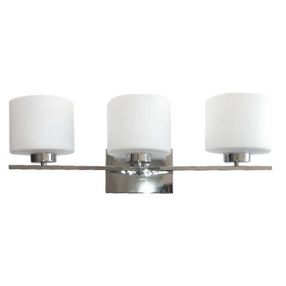 Whitfield Lighting-VL207-3CH-Jaelyn - Three Light Bath Bar  Chrome Finish with Dove White Glass