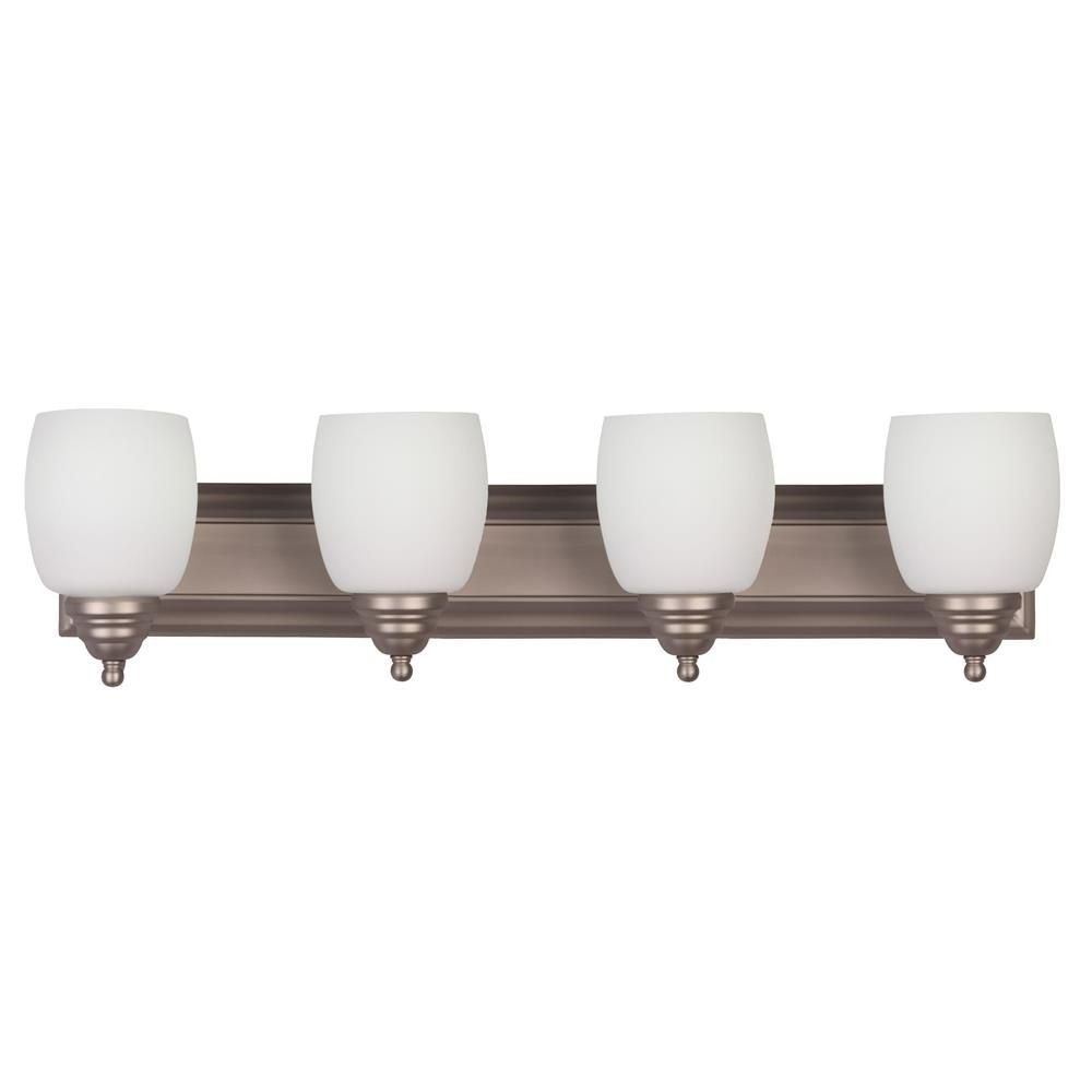 Whitfield Lighting-VL25-4BPT-Shantal Thirty-Inch Four-Light Vanity Brushed Pewter with White Glass  Brushed Pewter Finish with White Glass