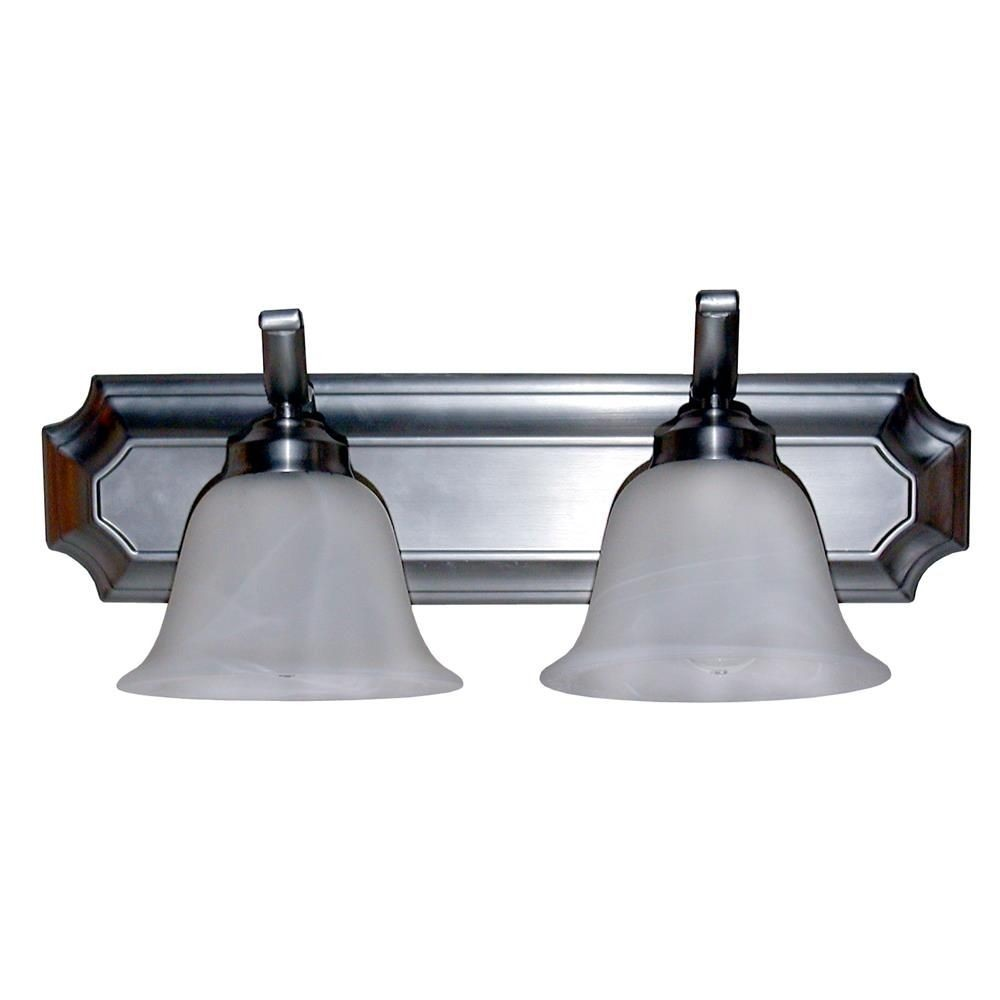 Whitfield Lighting-VL5-2SS-Elizabeth Eighteen-Inch Two-Light Vanity Satin Steel with Alabaster Glass  Satin Steel Finish with Alabaster Glass