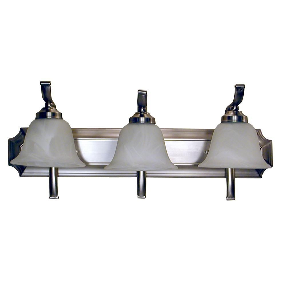 Whitfield Lighting-VL5-3SS-Elizabeth Twenty Four-Inch Three-Light Vanity Satin Steel with Alabaster Glass  Satin Steel Finish with Alabaster Glass