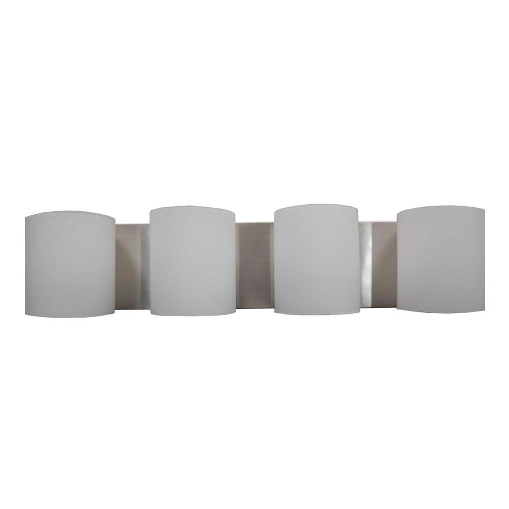 Whitfield Lighting-VL7023-4SS-Hudson - Four Light Bath Bar  Satin Steel Finish with White Glass