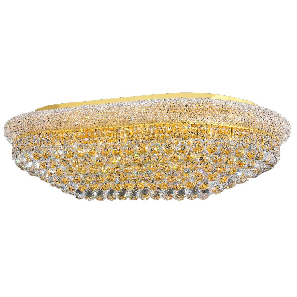 Worldwide Lighting-W33007G40-Empire - Twenty-Four Light Rectangular Extra Large Flush Mount  Polished Gold Finish with Clear Crystal