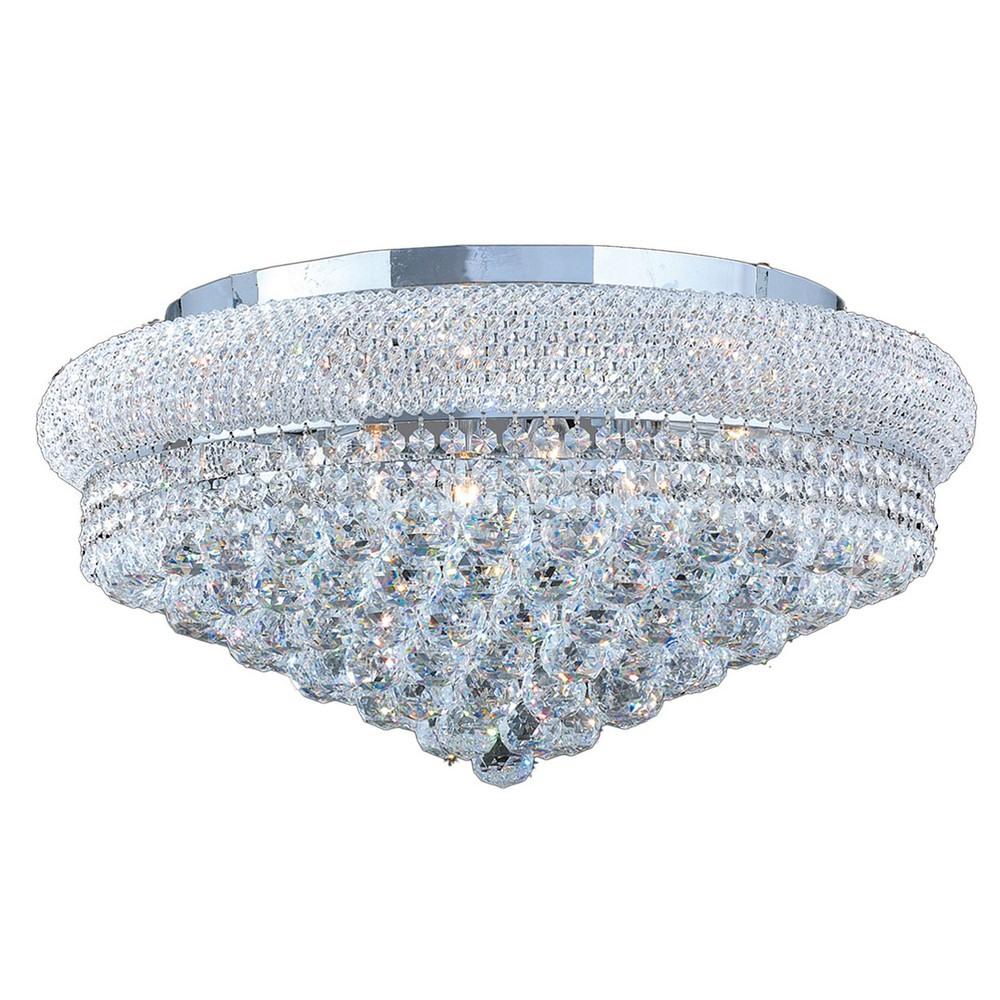 Worldwide Lighting-W33011C24-Empire - 50 Inch Twelve Light Round Extra Large Flush Mount  Polished Chrome Finish with Clear Crystal