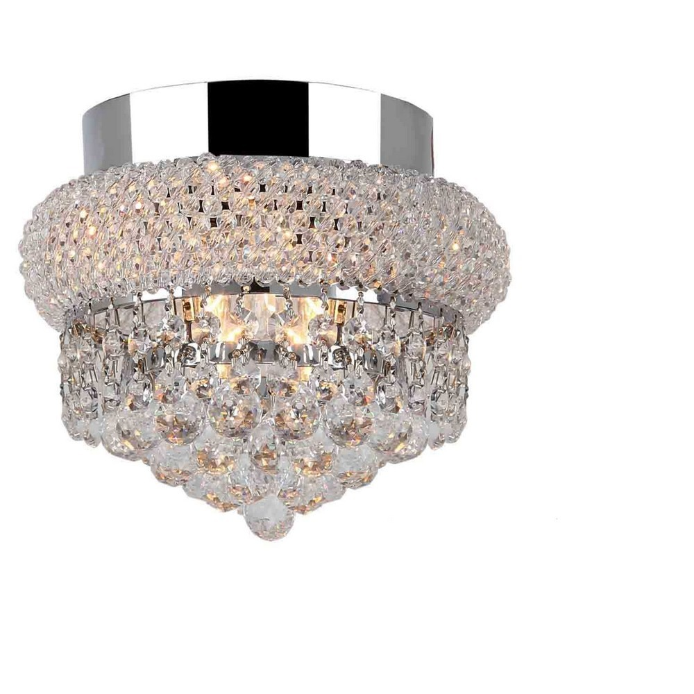 Worldwide Lighting-W33011C8-Empire - Three Light Round Small Flush Mount  Polished Chrome Finish with Clear Crystal