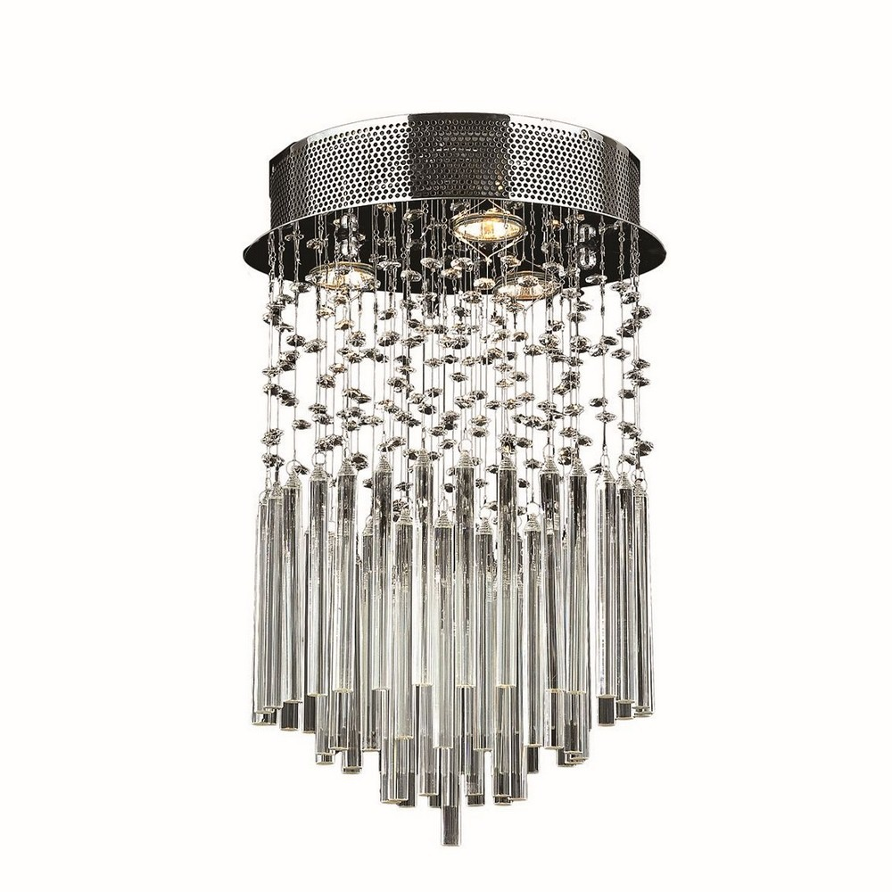 Worldwide Lighting-W33260C12-CL-Torrent - Three Light Round Small Flush Mount  Polished Chrome Finish with Clear Crystal