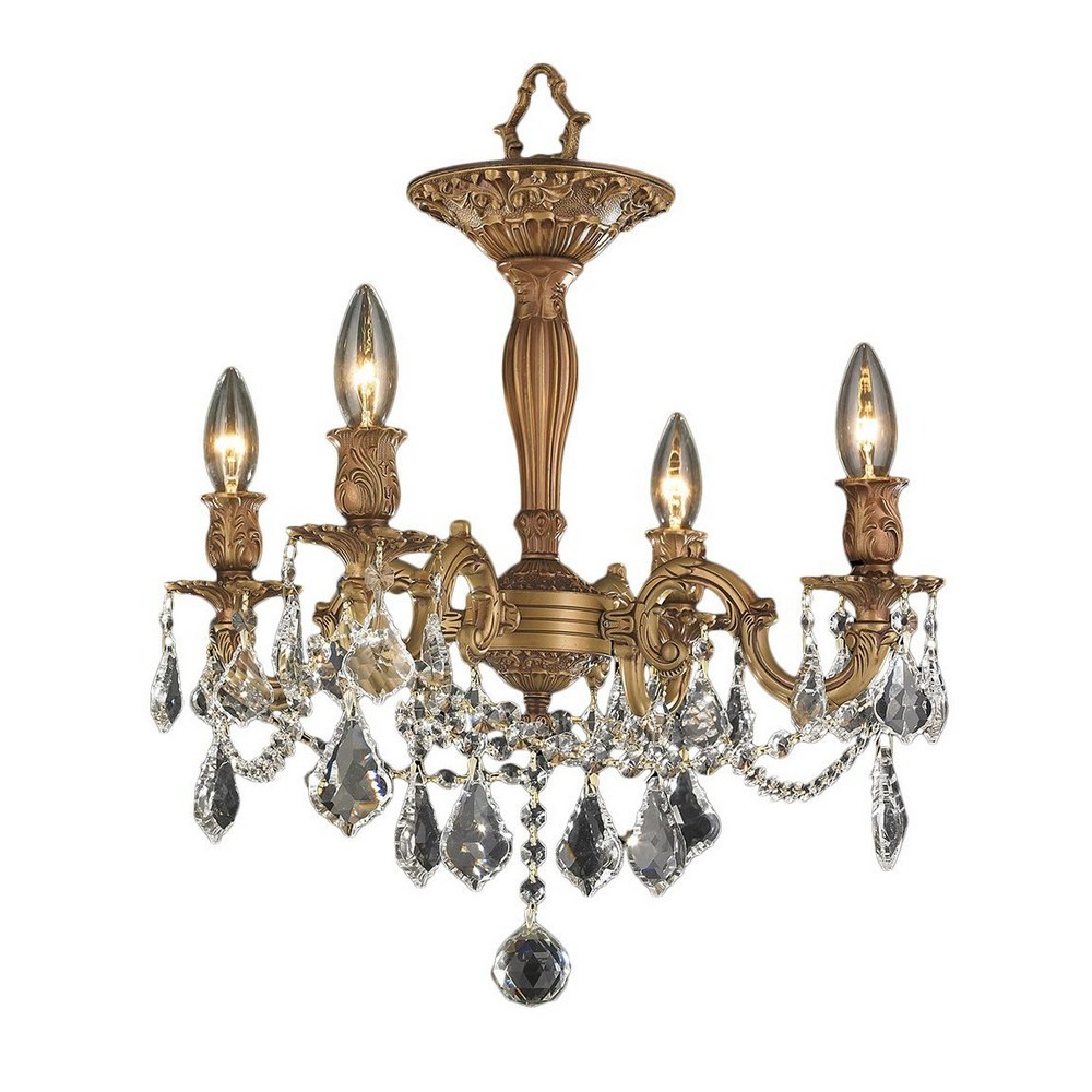 Worldwide Lighting-W33303FG17-CL-Windsor - Four Light Round Large Semi-Flush Mount  French Polished Gold Finish with Clear Crystal