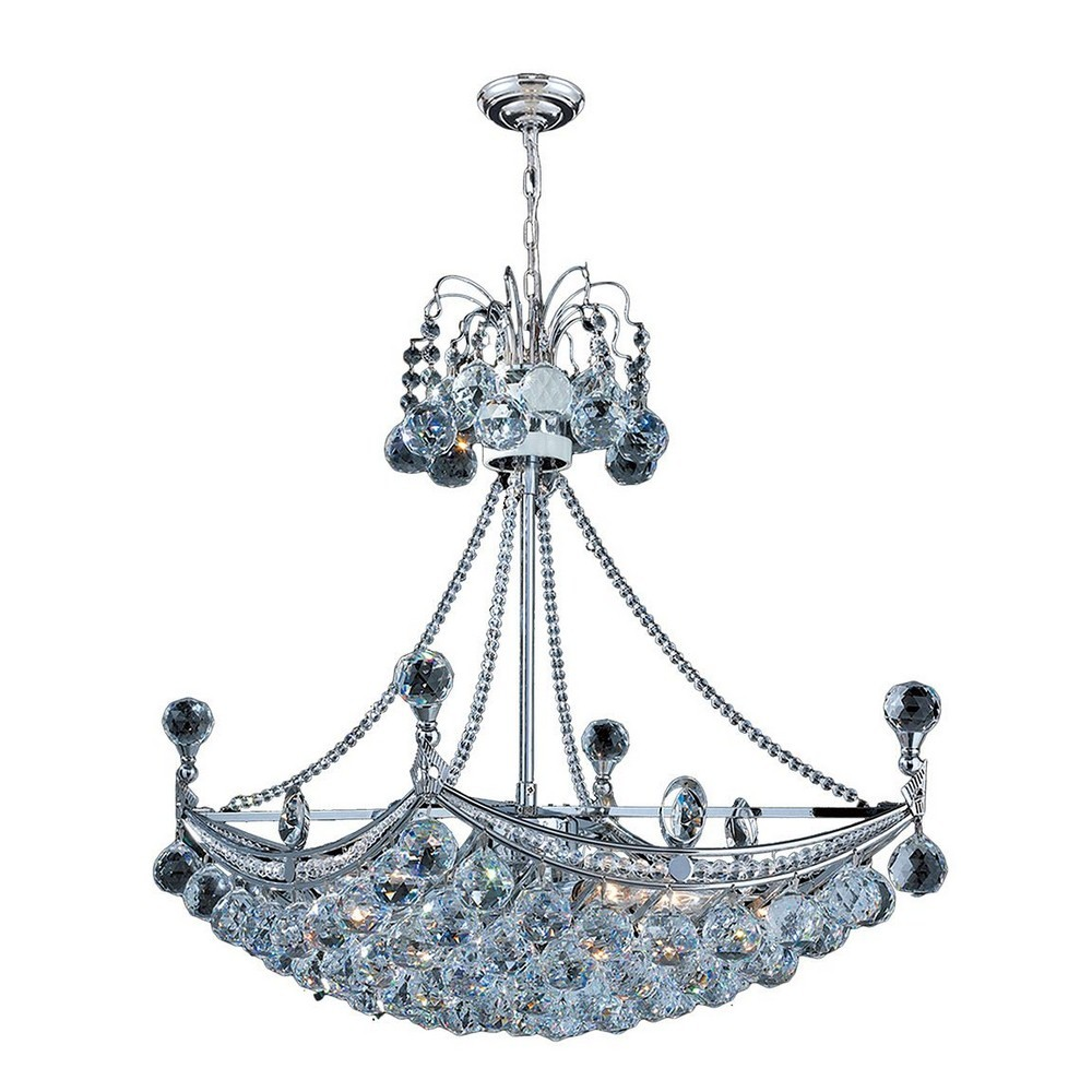Worldwide Lighting-W83025C24-Empire - Six Light Large Chandelier  Polished Chrome Finish with Clear Crystal